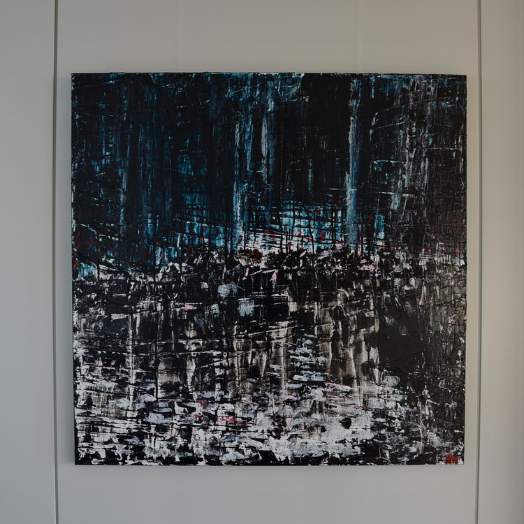 Titel: Reflections, 100 x 100 cm, Acryl op linnen (aluframe), Maart 2020, Prijs € 1.175,-.