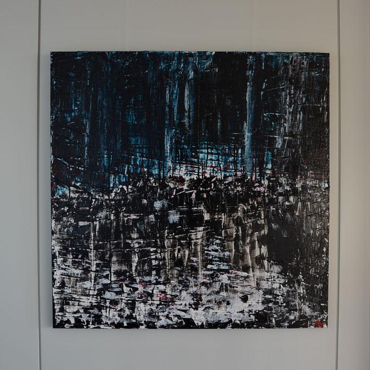 Titel: The people, the city, 100 x 100 cm, Acryl op linnen (aluframe), Maart 2020, Prijs € 1.175,-.