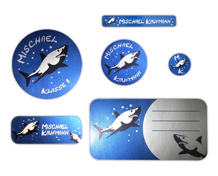 Silbermetallic Schulaufkleber-Set: Hai, mit verschiedene Namensaufkleber, Stifteaufkleber, Heftaufkleber