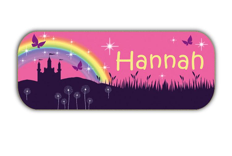 eckige Namensaufkleber, Motiv: Märchenschloss mit Regenbogen, Glitzersternen und Schmetterlinge,  hochwertige, umweltfreundliche PVC-freie Folie