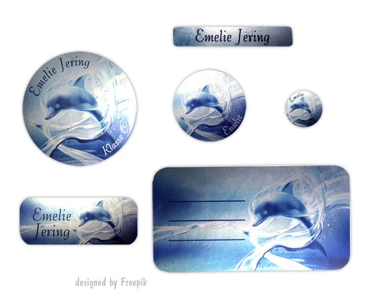 Silbermetallic Schulaufkleber-Set: Delfin, mit verschiedene Namensaufkleber, Stifteaufkleber, Heftaufkleber
