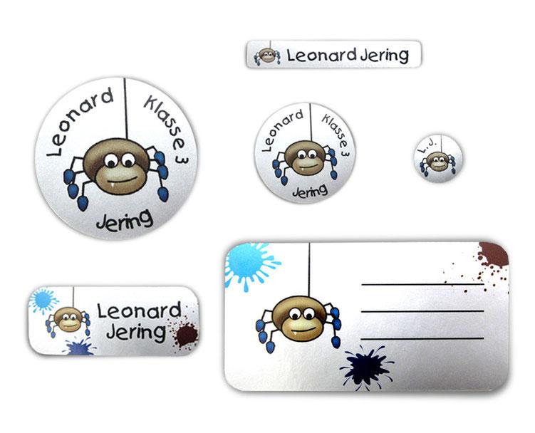 Silbermetallic Schulaufkleber-Set: Spinne, mit verschiedene Namensaufkleber, Stifteaufkleber, Heftaufkleber