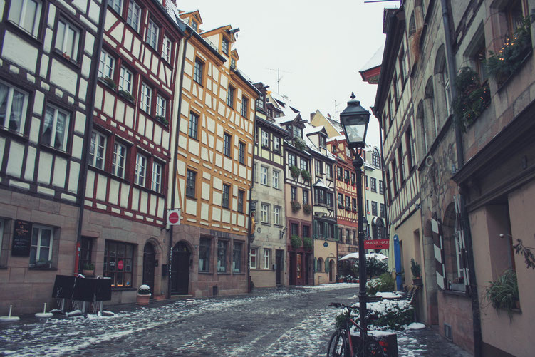 Nuremberg Germany ofpenguinsandelephants of penguins & elephants Weißgerbergasse old houses half timbered houses