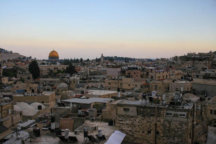 Jerusalem Israel ofpenguinsandelephants of penguins & elephants Ramparts walk view dome of the rock