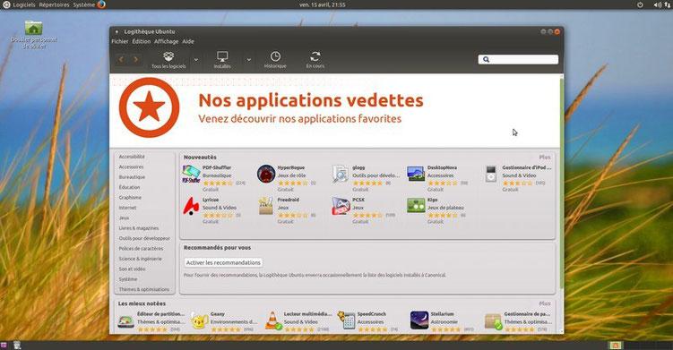 Télécharger vos applications gratuites dans la logithèque d'Ubuntu.