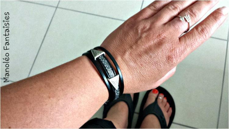 Bracelet ALANO en cuir, tendance chic, effet nid d'abeille, triangle graphique