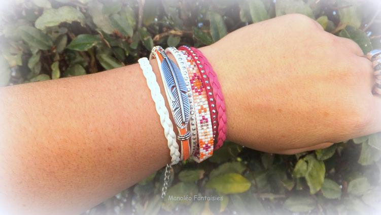 Bracelet manchette mia rose orange blanc perles plume ethnique strass