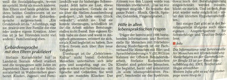 Quelle: Straubinger Tagblatt 16.09.2020