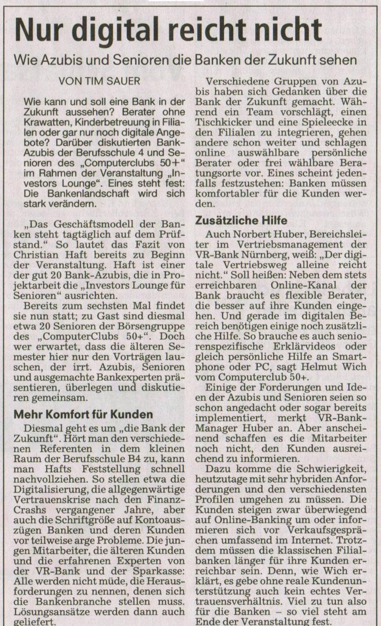 """Zeitungsartikel über das Projekt """"Bank der Zukunft"""""""