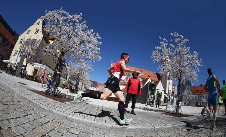 Kempten im Kirschblütenzauber am St. Mang Platz - Steffen lief auf den 10. Gesamtrang in 01:15:59 Stunden (Bild: www.all-in.de/bilder)