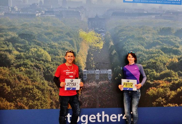 Moni und Ich beim 42. BMW Berlin-Marathon 2015 - Persönliche Bestleistung über 42,195 Km in 02:33:38 Stunden