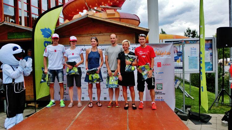 Die je ersten Drei des Marathon-Gesamtclassements: Stahl Stefan, Hagspiel Alexandra, Veith Pamela, Minges Tilo, Pulfer Alice, Wittmann Steffen