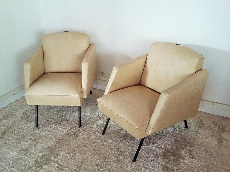 Paire de fauteuils vintage années 50
