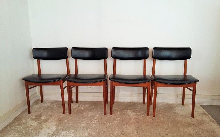 Série de 4 chaises scandinaves vintage Sax