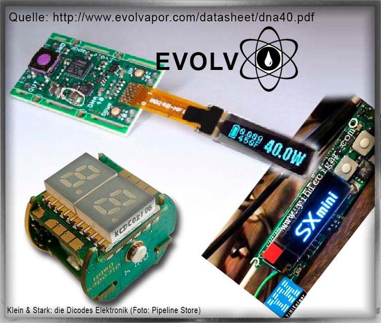 Beispiele elektronischer Bauteile, um im Akkuträger Widerstand, Volt, Watt und Temperatur zu kontrollieren und zu regeln