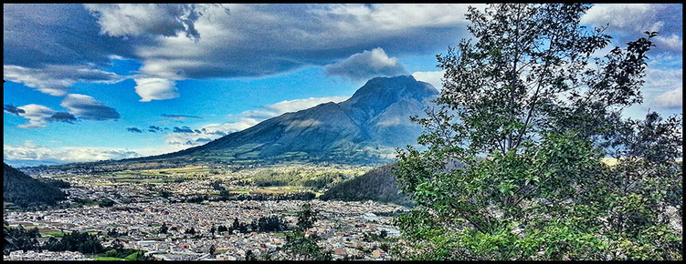 View over Otavalo, in the background the volcano Imbabura