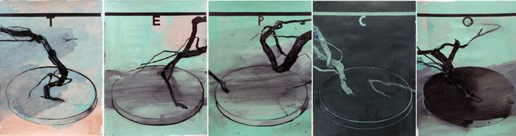 """""""5 exotische Landschaften"""", 2011, je 70 x 50 cm, 70 x 250 cm, Öl auf Karton"""