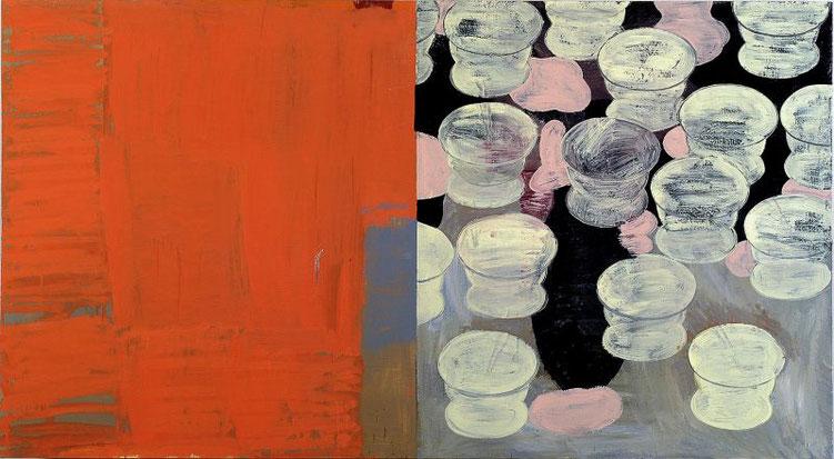 """""""Anna's Stilleben"""", 2001, Öl und Haushaltslack auf Nessel, 99 x 180 cm, Privatsammlung München"""