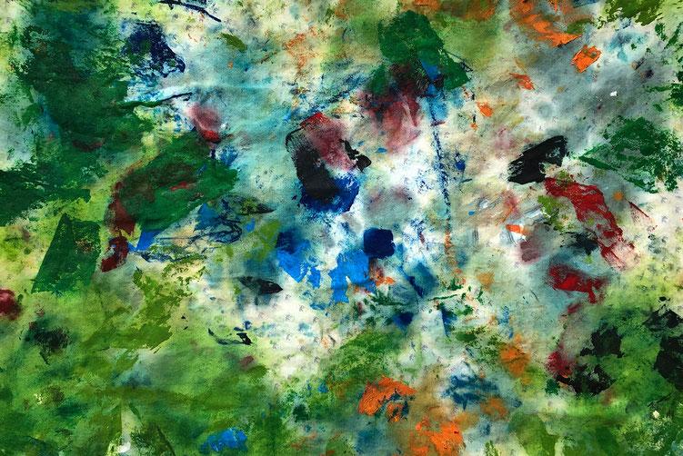 Bild des Monats Oktober 2020 »Sertigtal 2020« von Aaron / Ölfarbe auf Baumwollgewebe ca. 30 x 40 cm