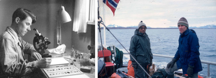 Svein at the microscope, 1952, and on fieldwork in Svalbard, Bohemanneset, 1987