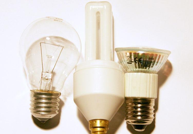 Glühlampe, Energiesparlampe und LED-Strahler