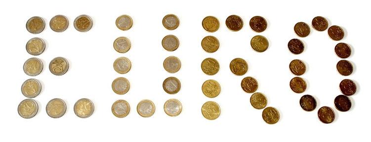 Eurostücke als Schriftzug