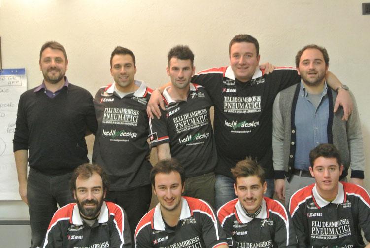 Foto 8 da sinistra in piedi: D.T. F. Penna, F. Zitti, V. Fracchia, P. Giroldo, Pres. A. Redoglia, giù A. Appiano, E. Biletta, E. Monzeglio, L. Lorenzin