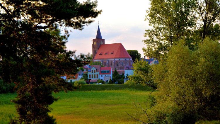 Blick vom Oderdamm zur Fürstenberger Kirche