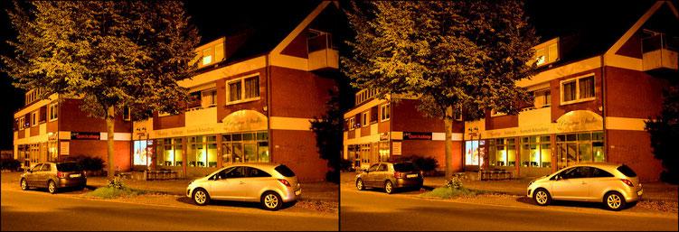 3D - Kreuzblick -Nachts auf der Straße