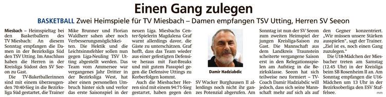 Artiklel im Miesbacher Merkur am 19.10.2019 - Zumn Vergrößern klicken