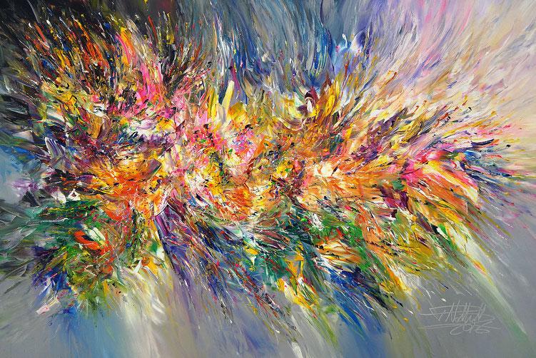 Abstraktes, modernes Gemälde. Original in Acrylfarben auf Leinwand. Blau, Gelb, Pink, Orange, Magenta