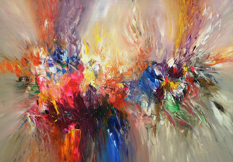 Lebendiges, farbenreiches Gemälde. Dynamisches, energiereiches Original.