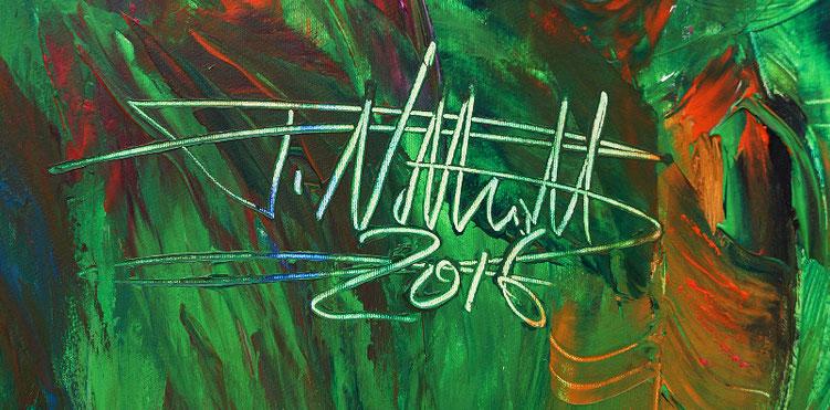 Entstehungsjahr 2016 und Signatur des Künstlers