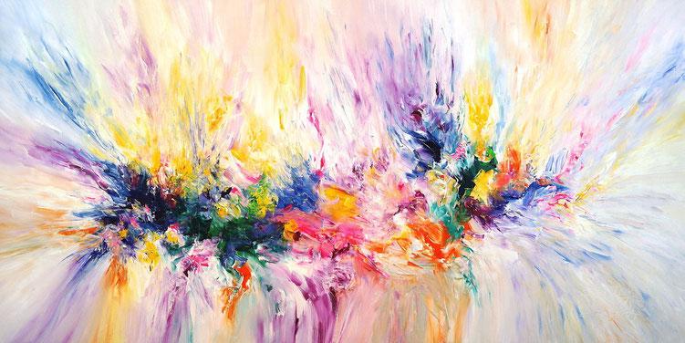 Großes, abstraktes Gemälde. Moderne Malerei in vitalen, dynamischen Farben.