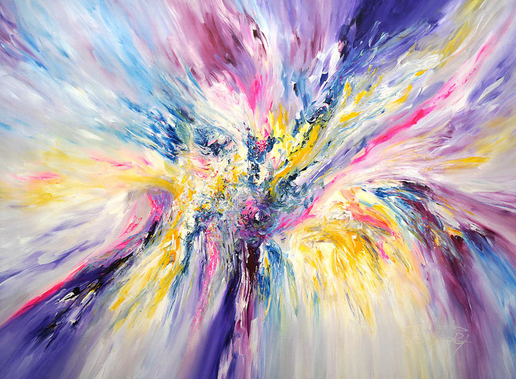 Abstraktes Original. Moderne Malerei in fließenden Formen und frischen Farben.