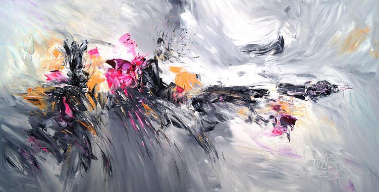 Vitales, abstraktes Acrylbild auf Leinwand. Schwarz Weiß Anthrazit