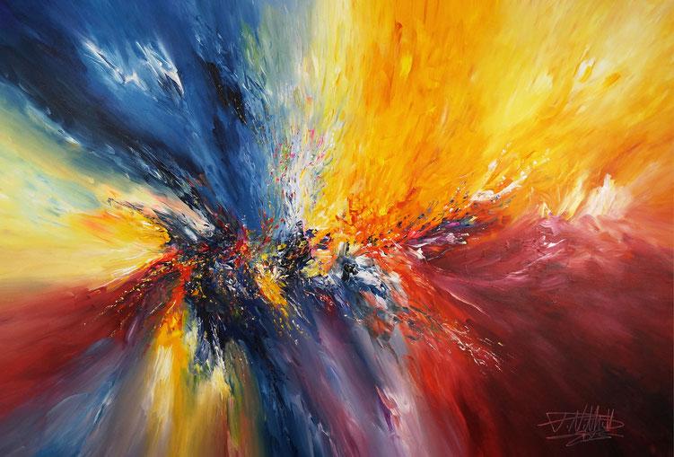 Modernes Gemälde in Rot, Magenta, Orange Gelb, Blau und etwas Weiß.