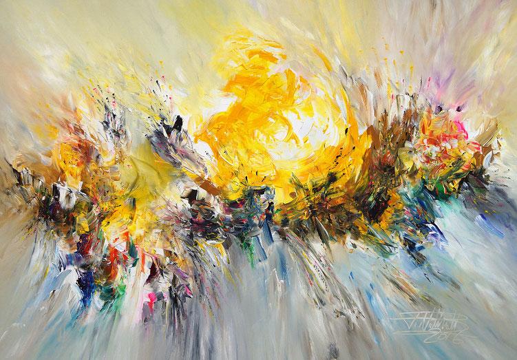 Lebendiges, farbenreiches Gemälde. Gelb, bunt. Original