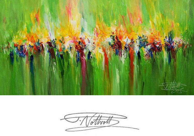 Abstraktes, grünes Gemälde im Panorama-Format. Fertig auf einen Keilrahmen gespannt.