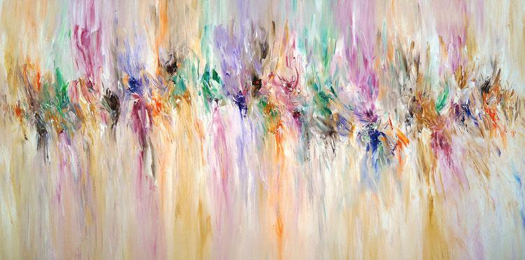 Großes, abstraktes Gemälde. Moderne Malerei in sanften Naturfarben.