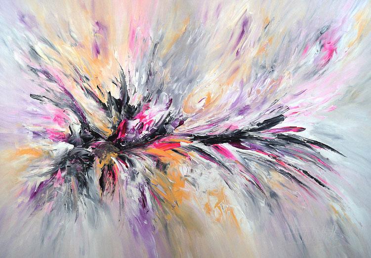 Abstraktes, modernes Gemälde. Original in den Hauptfarbtönen Anthrazit, Schwarz, Weiß, Pink.