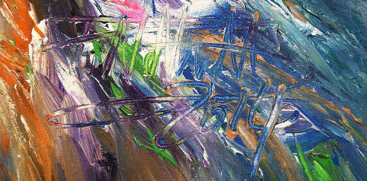 Vitales, abstraktes Gemälde vom Hamburger Kunstmaler Peter Nottrott.