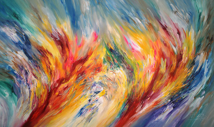 Große, abstrakte Malerei. Modernes Gemälde in lebendigen Farben.