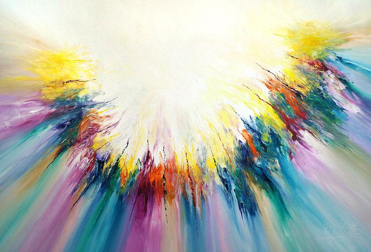 Farbenreiches, abstraktes Acrylgemälde vom Hamburger Künstler Peter Nottrott.