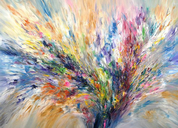 Vitales, abstraktes Acrylgemälde vom Hamburger Kunstmaler Peter Nottrott