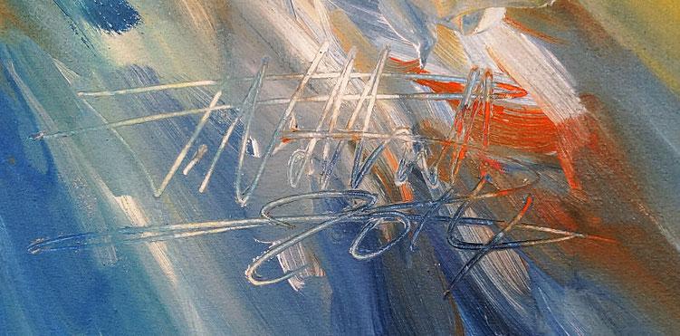 Abstraktes Gemälde: Signatur des Künstlers Peter Nottrott