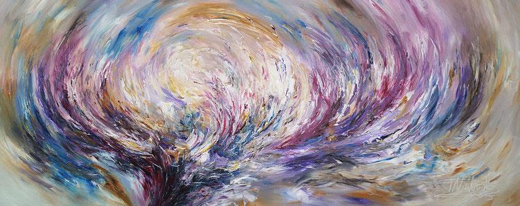 Modernes, vitales Gemälde fertig auf einen Keilrahmen gespannt.