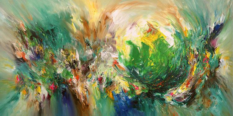 Abstraktes, grünes Gemälde. Original auf Leinwand.