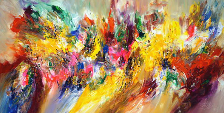 Abstraktes Gemälde. Großformat. Vitale Malerei in intensiven, modernen Farben.