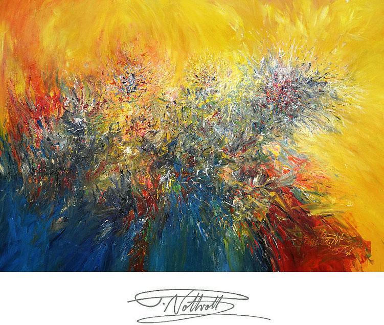 Vitales, abstraktes Acrylbild auf Leinwand.